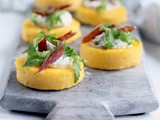 Polenta Crostini with Jamon, Ricotta and Rocket