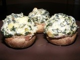 Spinach Artichoke Dip-Stuffed Mushrooms