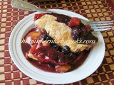 Fresh apple, peach and blueberry cobbler