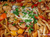 Italian chicken, peppers and pasta skillet