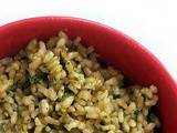 Brown Rice with Basil Walnut Pesto