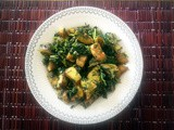 Kela Methi Bhujiya: Plantain and Fenugreek Leaves