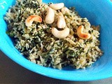 Spinach Rice with Coriander Pesto and Cashew Nuts