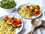 30-Minute Lemon Roasted Vegetables and Orzo Pasta Traybake | Vegan Recipe