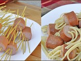 Spaghetti Threaded Hot Dogs