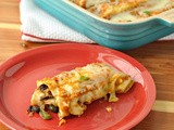 Chicken & Black Bean Enchilada with a Pumpkin Sauce