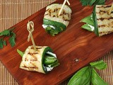 Grilled Zucchini Rolls with Herbs and Cheese