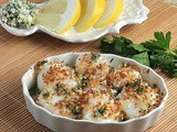 Scallop Gratins with Lemon-Garlic Bread Crumb