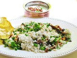Fresh mint and peas pulao: Cucumber raita with fried onions and garlic