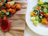 Moong dal pakoda with arugula and avocado salad (Lentil fritters and salad)