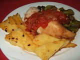 Roasted Chicken with Tuscan Sauce, Fried Polenta and Balsamic Peppers
