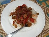 Stewed Tomatoes and Okra with Bacon Over Rice