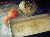 No Churn Peach Ice Cream with candied Peach Chunks