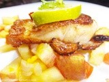 Burnt Garlic Fish With Apple Mango Salsa