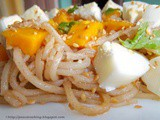 Delicious Noodles With Mango, Boiled Egg And Roasted Sesame Seeds