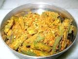 Fried Okra and Gram flour (Besan Bhindi Sabzi)