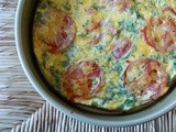 Cheddar Basil Quiche with Roasted Sweet Potato, Spinach, and Tomato