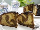 Peanut Butter Marble Cake with Chocolate Glaze