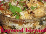 Layered chicken biryani recipe