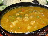Vegetable korma with soya chunks recipe