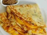 Belgian Pancakes filled with Caramelized Almonds & Peaches + Special Announcement