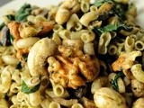 Warm Pesto Pasta Salad with Mushrooms and Spinach