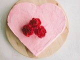 Chocolate heart cake with raspberry buttercream