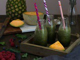 Kale Smoothie with Berries Cantaloupe and Pineapple | Breakfast Smoothies