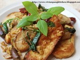 Stir Fried Oyster Mushroom with Tofu in 3 cups Chicken(三杯雞) Style
