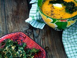 Pumpkin soup with Chia and kale chips - Σούπα κολοκύθα με σπόρους Chia και τσιπς από kale