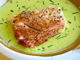 Salmon with leek coulis with saffron and dill - Φιλέτο σολομού με coulis πράσου και σαφράν