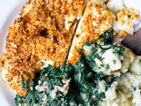 Almond-Encrusted Cauliflower & Creamed Spinach