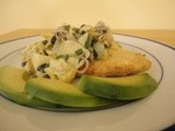 Breaded Fish Filets Topped with Warm Artichoke, Shallot and Caper Salad