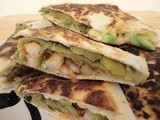 Hatch Chile Quesadilla with Avocado and Shrimp