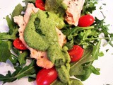 Steamed Salmon with salad and avocado dressing