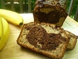 Dark Chocolate Marbled Peanut Butter Banana Bread