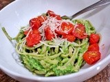 Spinach and Avocado Greens Pasta with Roasted Grape Tomatoes