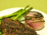 Grilled Balsamic Sirloin Steak w/ Grilled Asparagus and Red Onions