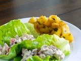 Pecan Chicken Salad Lettuce Wraps w/ Pineapple, Peach and Mango Salad