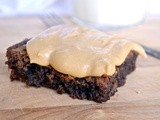 Vanilla Brownies with Peanut Butter Frosting