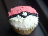 Vanilla Poké Ball Cupcakes with White Chocolate Frosting