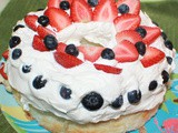 Strawberry Blueberry Cream Angel Food Cake