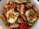 Brown rice Pasta with marinated courgettes, eggplants and tomato