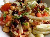 Fennel salad with tomato, chickpea, sultanas and giant couscous