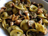 Pasta with Brussels sprout top pesto, mushrooms and walnuts