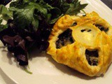 Puff pastry basket filled with chards and goat cheese