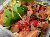 Purslane salad with smoked salmon, black lentils, avocado and tomato