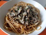 Whole-wheat pasta with mushrooms