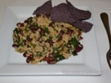 Red Beans and brown rice with collard greens