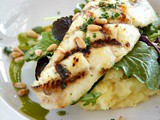 Grilled Halibut over Greens with Verjus White Truffle Vinaigrette